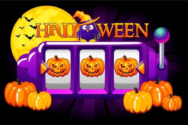 Halloween-spielautomat, kürbis-jackpot, glücksbonus für das ui-spiel. vektor-illustration nacht festliche banner gewinnen wette spielautomat für design.