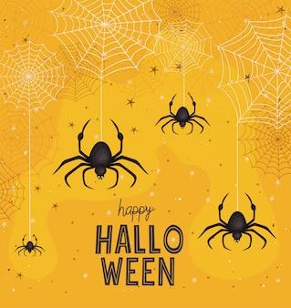 Halloween spinnen cartoons mit spinnennetz design, urlaub und gruseliges thema
