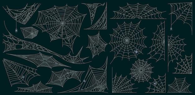 Halloween-spinnennetz. spinnennetz gruselige halloween-dekoration, beängstigend zerrissene spinnennetzsymbole vektor-illustration-set. spinnennetz-silhouette-elemente. verworrenes spinnennetz der spinne, ecknetz gruselig