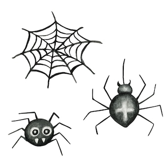 Halloween spinnennetz und spinnen aquarell illustration