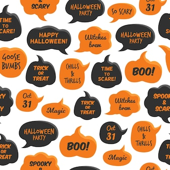 Halloween-sprechblasen. schwarze und orangefarbene comic-blase mit fröhlicher partyzauberhexe, 31. oktober und boo, nahtloses muster auf weißem hintergrund, kreatives design-textil, verpackung, tapetenvektortextur
