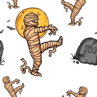 Halloween spuk mummy full moon seamless pattern