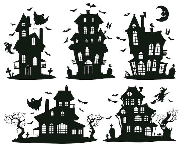 Halloween-spukhäuser. cartoon gruselige halloween-geisterschlösser, monsterhäuser isolierte vektorsymbole gesetzt. gruselige halloween-spukhäuser. schloss mit geist, horrorhalloween-hausillustration