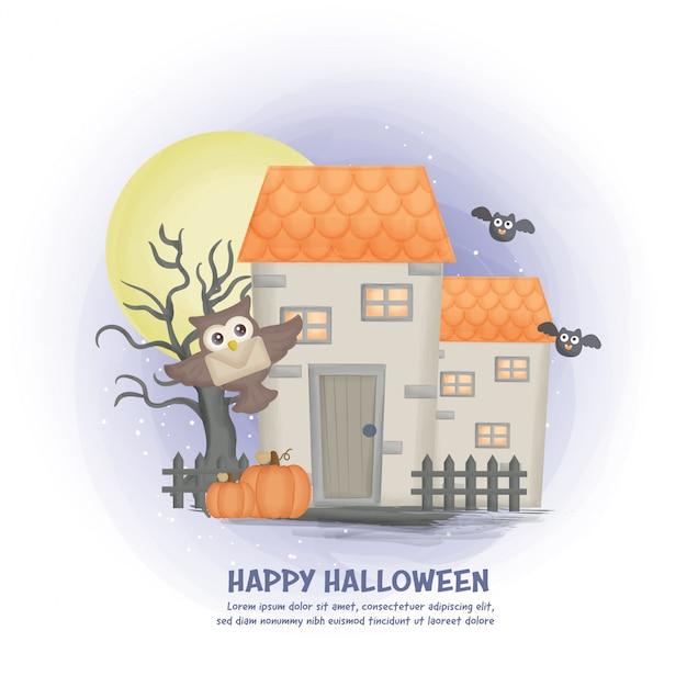 Halloween-spukhaushintergrund mit dem mond.