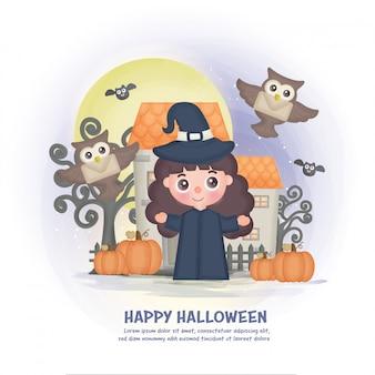 Halloween-spukhaushintergrund mit einer hexe.
