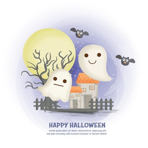 Halloween-spukhaushintergrund mit niedlichem geist.