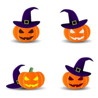 Halloween stellte mit den kürbisen ein, die, hut für halloween, vektorillustration lokalisiert wurden