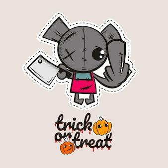 Halloween stich bär zombie voodoo puppe böser bär nähmonster süßes oder saures kürbisse