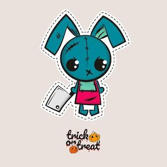 Halloween stich hase kaninchen zombie voodoo puppe böses häschen nähen monster süßes oder saures kürbisse