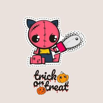 Halloween stich zombie kitty voodoo puppe böse katze näht monster kitty süßes oder saures kürbisse