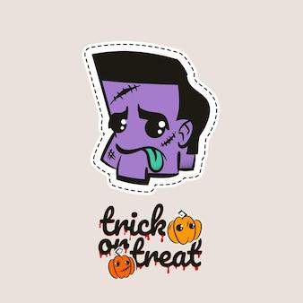 Halloween stich zombie kopf voodoo puppe böser zombie kopf nähen monster süßes oder saures kürbisse