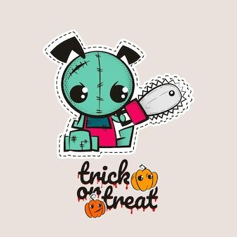 Halloween stich zombie welpen voodoo puppe böser hund nähmonster süßes oder saures kürbisse