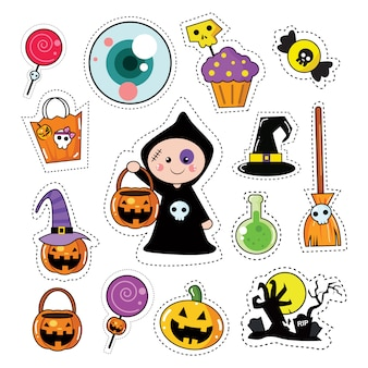 Halloween sticker patches set