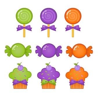 Halloween süße süßigkeiten und cupcakes