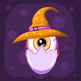 Halloween süßer charakter, augapfel in eierschale mit hexenhut, vektorillustration.