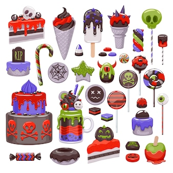 Halloween süßes set. verschiedene süßigkeiten, kekse und kuchen.