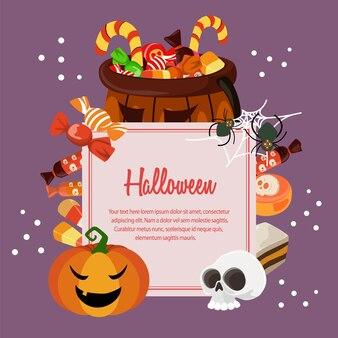 Halloween süßigkeiten behandelt flache stil