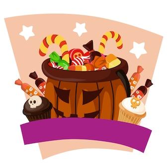 Halloween süßigkeiten behandelt in flachen stil