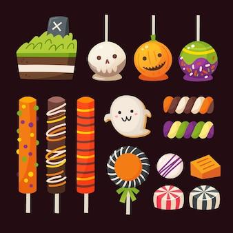 Halloween süßigkeiten für kinder. bunte klassische vektorsüßigkeiten und vektoren.