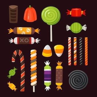 Halloween süßigkeiten ikonen. bunte klassische vektorsüßigkeiten verziert mit halloween-elementen.