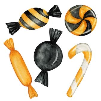Halloween süßigkeiten süßigkeiten für kinder eingestellt. süßes oder saures-unterhaltung in traditionellen oktoberferienfarben.