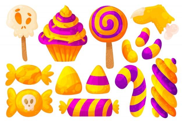 Halloween süßigkeiten und bonbons.