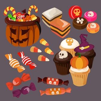Halloween süßigkeiten und leckereien