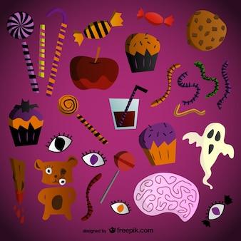Halloween-süßigkeiten-vektoren