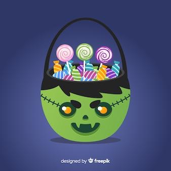 Halloween-süßigkeitenrückseitenzusammensetzung im flachen desing