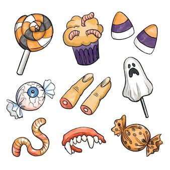 Halloween-süßigkeitensammlung im aquarellstil