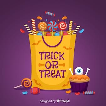 Halloween-süßigkeitstaschenhintergrund