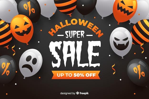 Halloween-superverkauf mit gespenstischen ballonen