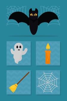 Halloween-symbole gesetzt