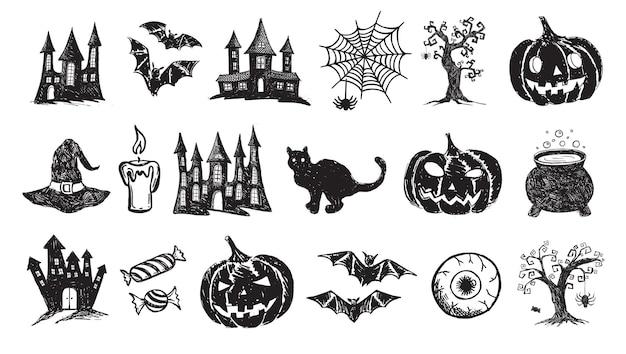 Halloween-symbole handgezeichnete illustrationen