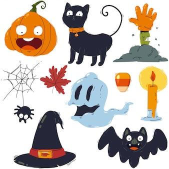 Halloween-symbole, ikonen, gezeichneter satz der elementkarikatur hand an lokalisiert.