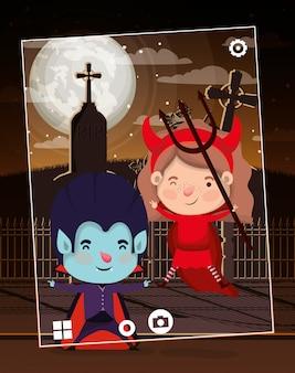 Halloween-szene mit kindern auf friedhof