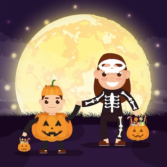 Halloween-szene mit kürbisen und kind verkleidet katrina