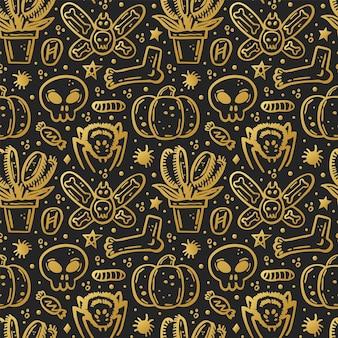 Halloween-tag der toten goldenen tinte vektor nahtlose muster kürbis spinne schädel süßigkeiten insekt