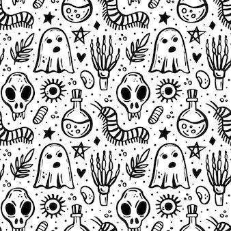 Halloween-tag der toten schwarzen tinte vektor nahtlose muster hexe elemente geist skelett schädel