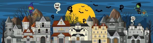 Halloween-tag mit kolonialgebäuden bei nacht