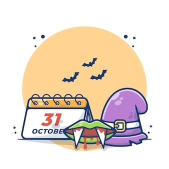 Halloween-tageskalender mit zaubererhut und dracula-vektor-illustration