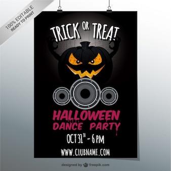 Halloween-tanz-party-flyer mit kürbis