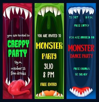 Halloween-tanz und gruselige monster-partyplakate. monsterzahnmaws mit scharfen reißzähnen und zunge im speichelkarikaturvektor. halloween-feier-event-flyer oder broschürenvorlage