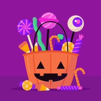 Halloween-tasche mit süßigkeiten
