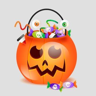 Halloween-taschenillustration mit farbverlauf
