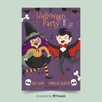 Halloween teil flyer mit kostümen