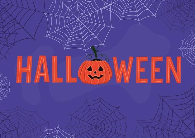 Halloween-text mit kürbis-cartoon und spinnennetz-design, feiertag und unheimlichem thema