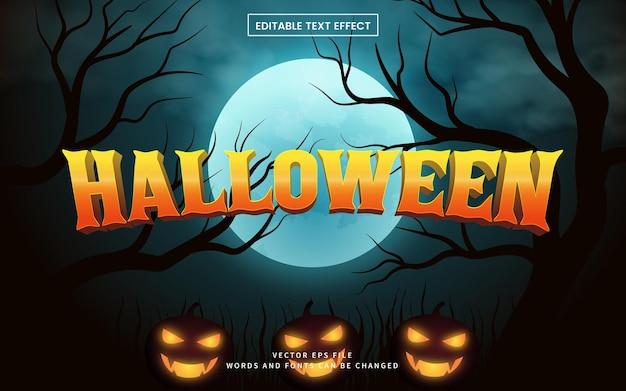 Halloween-texteffekt mit dunklem horrorillustrationshintergrund