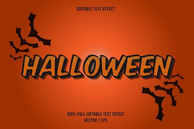 Halloween-texteffekt orange farbe mit fledermaus-silhouette