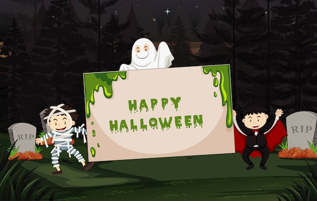 Halloween-thema mit kindern im kostüm
